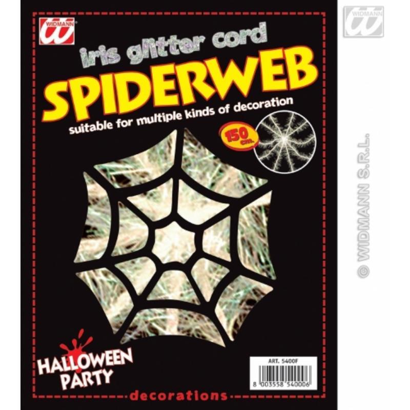 Spider Web Iridescent Glitter Cord 150Cm Black Widow Halloween Fancy Dress Prop