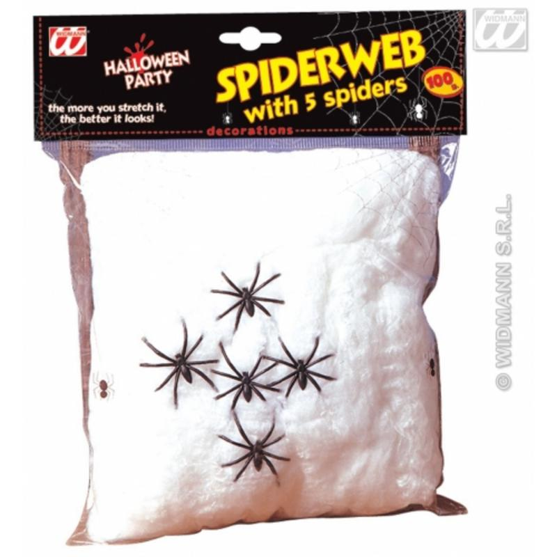 White Spider Cob Web Halloween Party Decoraition With 5 Spiders - 100g