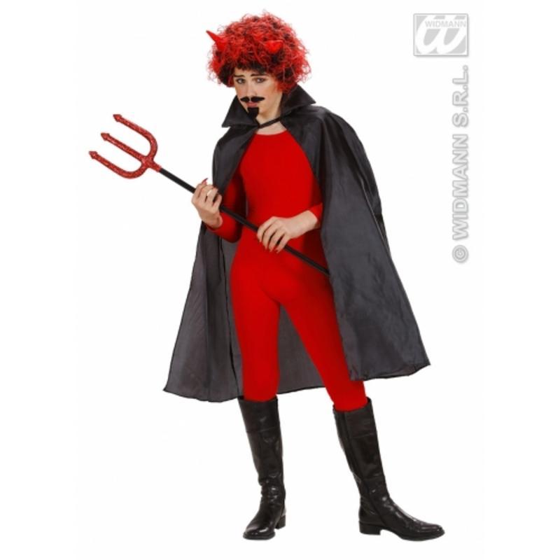 Long Black Cape 100cm - Halloween Dracula Devil Vampire Fancy Dress Prop