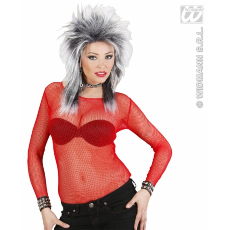 Ladies Red Fishnet Top Medium Funky Rave Punk Rock Fancy Dress Costume Accessory
