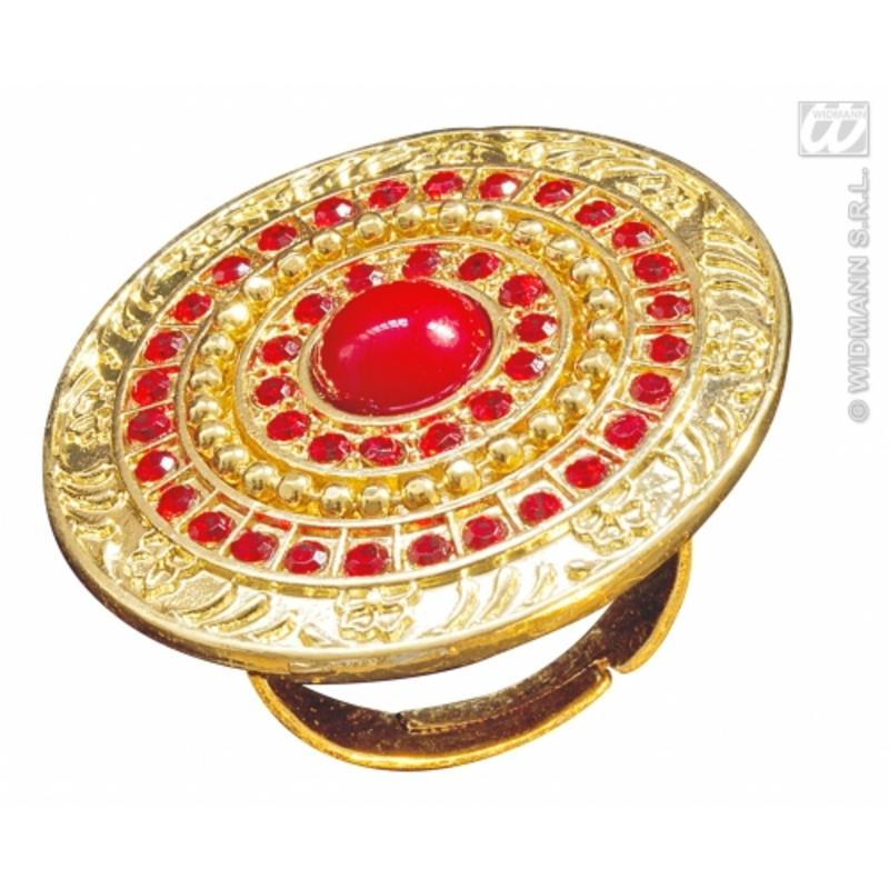 Gold & Red Roman Ring Fancy Dress Costume Jewellery King Queen