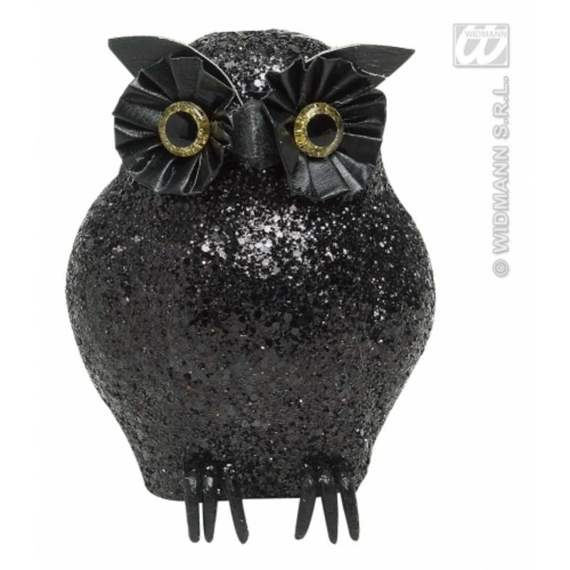 Large Black Glitter Owl 11cm - Halloween Fancy Dress Costume Party Prop