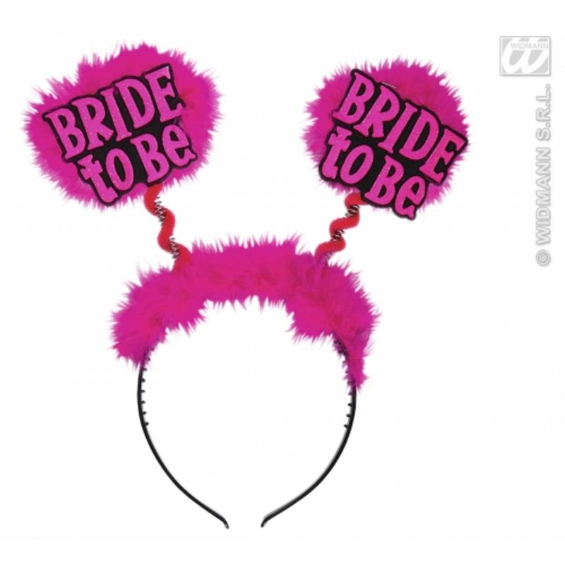 Pink Fluffy Bride To Be Boppers On Headband Hen Night Party Fancy Dress