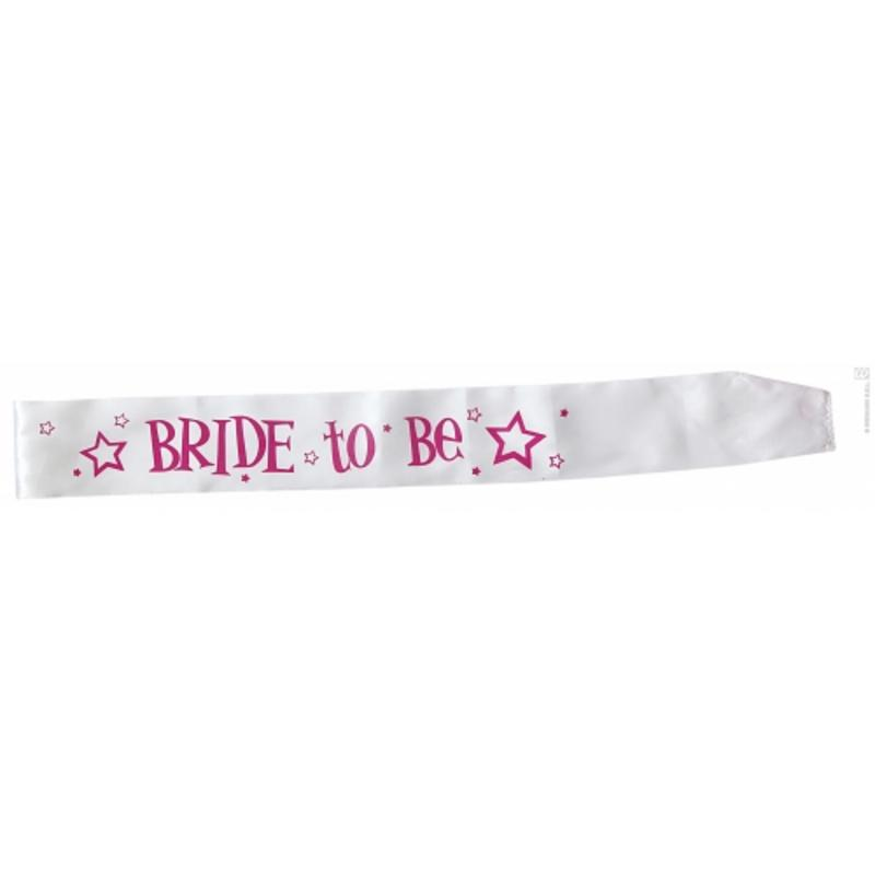 White Bride To Be Sash Hen Night Party Fancy Dress Costume Prop