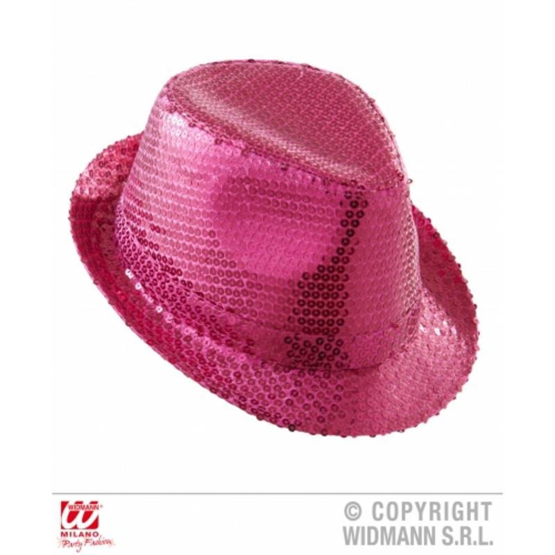 Pink Sequin Fedora Hat Burlesque Stripper Hen Night Party Fancy Dress Costume