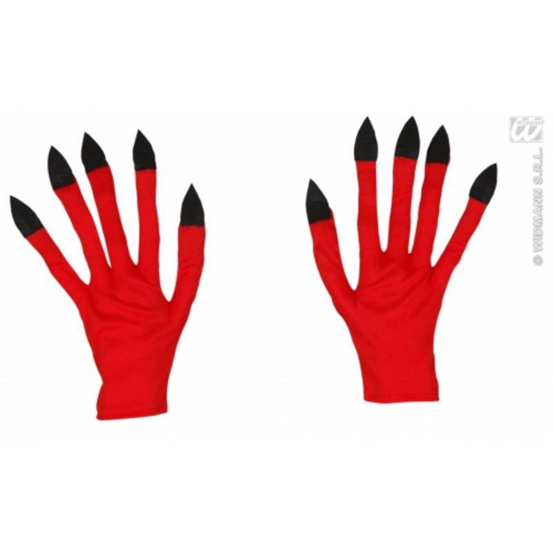 Adult Size Red Demon Devil Gloves Satan Halloween Fancy Dress Party Accessory