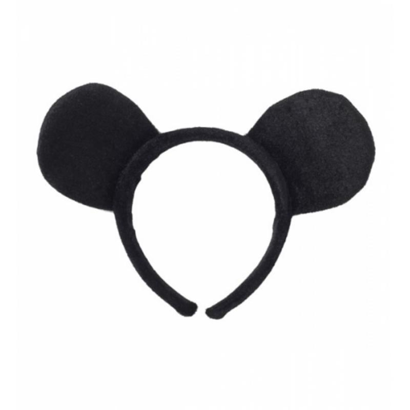 Mouse Ears On Headband Mickey Minnie Rodent Fancy Dress Costume Accessory