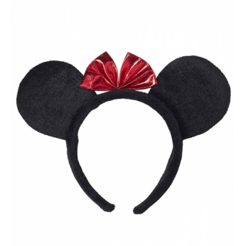 Black Minnie Mouse Ears On Headband Fancy Dress Costume Accessory