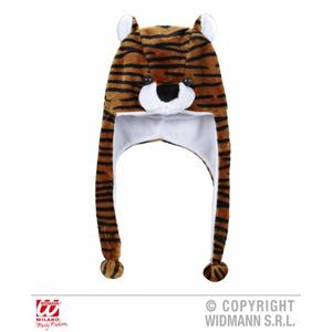 Adult Tiger Novelty Hat With Built In Scarf Winter Warmer Faux Fur Fleece