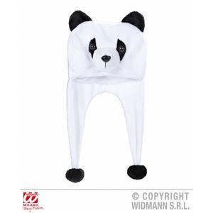 Adult Panda Novelty Hat With Built In Scarf Winter Warmer Faux Fur Fleece