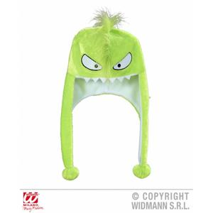 Adult Neon Green Monster Novelty Hat With Built In Scarf Winter Warmer