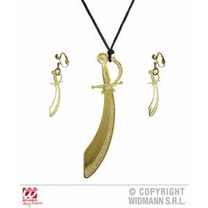 Gold Pirate Sword Cutlass Necklace & Earrings Fancy Dress Jewellery Set For Her