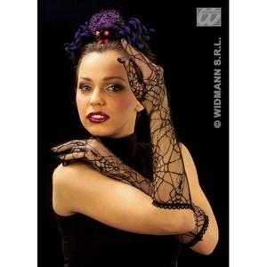 Ladies Black Spiderweb Gloves Halloween Witch Vampiress Fancy Dress