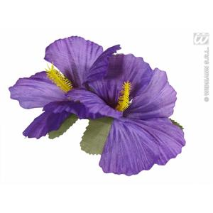 2 x Purple Hibiscus Flower Hair Clips Hawaiian Hula Grl Fancy Dress Prop