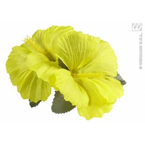 2 x Yellow Hibiscus Flower Hair Clips Hawaiian Hula Grl Spanish Fancy Dress
