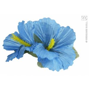 2 x Light Blue Hibiscus Flower Hair Clips Hawaiian Hula Grl Fancy Dress