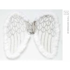 White Glittery Fairy Wings With Marabou Detail Angel Fancy Dress 50cm x 40cm