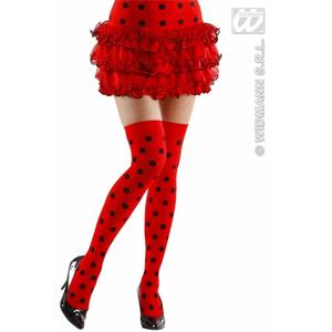 Black & Red Polka Dot Over Knee Socks Ladybug Ladybird Fancy Dress 70 Den