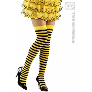 Black Yellow Over Knee Socks 70 Den Bumble Bee Insect Fancy Dress Accessory
