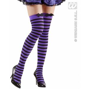 Black Purple Over Knee Bat Socks 70 Den Halloween Fancy Dress Accessory