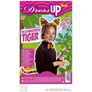 Childrens Tiger Fancy Dress Up Set Kit Ears Bowtie & Tail
