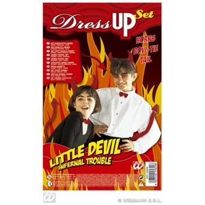 Childrens Red Demon Devil Satan Fancy Dress Up Set Kit Horns Bowtie & Tail