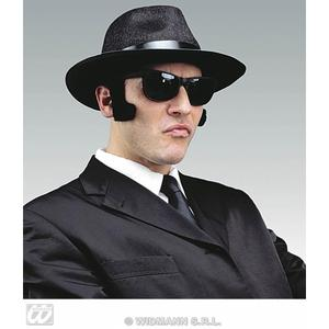 Black Fluffy Mens Stick On Sideburns Blues Brothers Gangster Fancy Dress