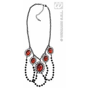 Black Beaded Choker With Red Gems & Chain Rocker Goth Fancy Dress Jewellery