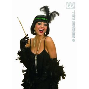 Ladies Black 1920s FlapperSpandex Satin Gloves 60cm Moulin Rouge Fancy Dress