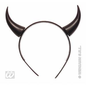 Black Devil Horns On Headband Demon Satan Halloween Fancy Dress Costume Prop