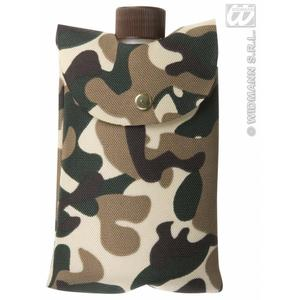 Camouflage Army Bag And Bottle Soldier Military Fancy Dress Accessory