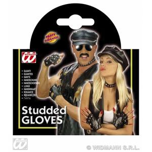 Back Leather Look Studded Gloves Biker YMCA Punk Rocker Fancy Dress