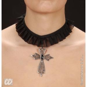 Gothic Goth Cross Choker With Black Gem Halloween Witch Fancy Dress Jewellery