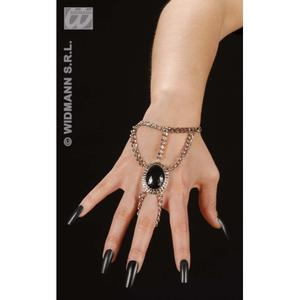 Gothic Goth Wrist Chain With Black Gem Glove Witch Halloween Fancy Dress