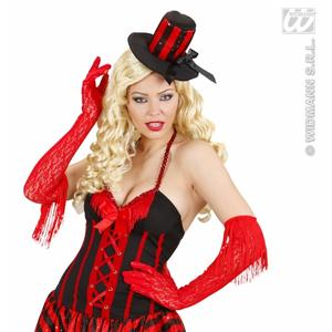 Red Lace Gloves With Fringe Saloon Girl Moulin Rouge Flapper Fancy Dress Props