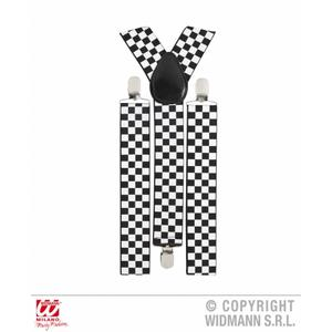 Black & White Chequered Braces F1 Style Retro 70s Fancy Dress Costume Suspender