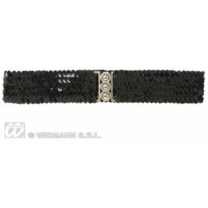 Black Sequin Belt Disco Diva Dancer Fame Fancy Dress Accessory
