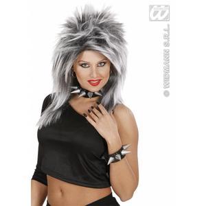 Black Silver Spiked Choker Punk Rocker Gothic Fancy Dress Accessory