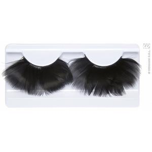 Black Feather Fake Eyelashes Eye Lashes With Glue Fancy Dress Diva Accessory