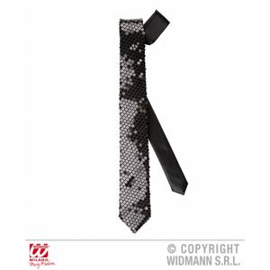 Black Sequin Skinny Tie Retro Party Funky Magician Fancy Dress Accessory