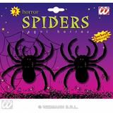 Set Of 2 Hairy Flocked Spiders Spider Toys Halloween Fancy Dress Party Props