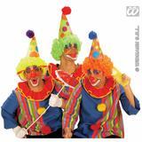 Clown Hat With Neon Orange Wig Halloween Circus Fancy Dress Accessory