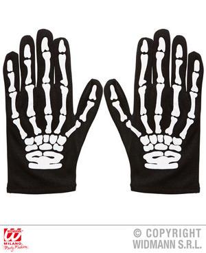 Childs Kids Skeleton Gloves Bones Halloween Fancy Dress Costume Accessory