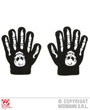 Childs Bone Gloves With Skulls Skeleton Halloween Fancy Dress Costume Accessory