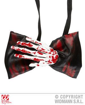 Bloody Skeleton Hand Bow Tie Psycho Killer Halloween Fancy Dress Accessory