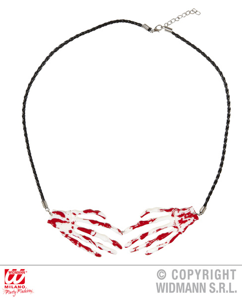 Bloody Skeleton Hands Necklace Witch Halloween Fancy Dress Jewellery Accessory