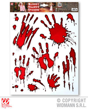 Bloody Hand Stickers Halloween Trick Or Treat Fancy Dress Party Decoration