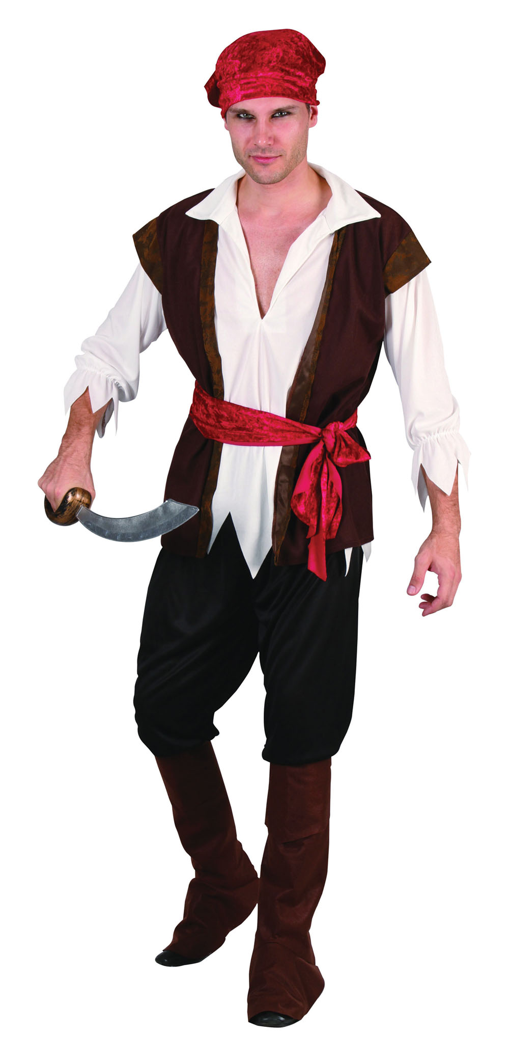 Mens Pirate Brown Waistcoat Fancy Dress Costume Ship Captain Historic Outfit New