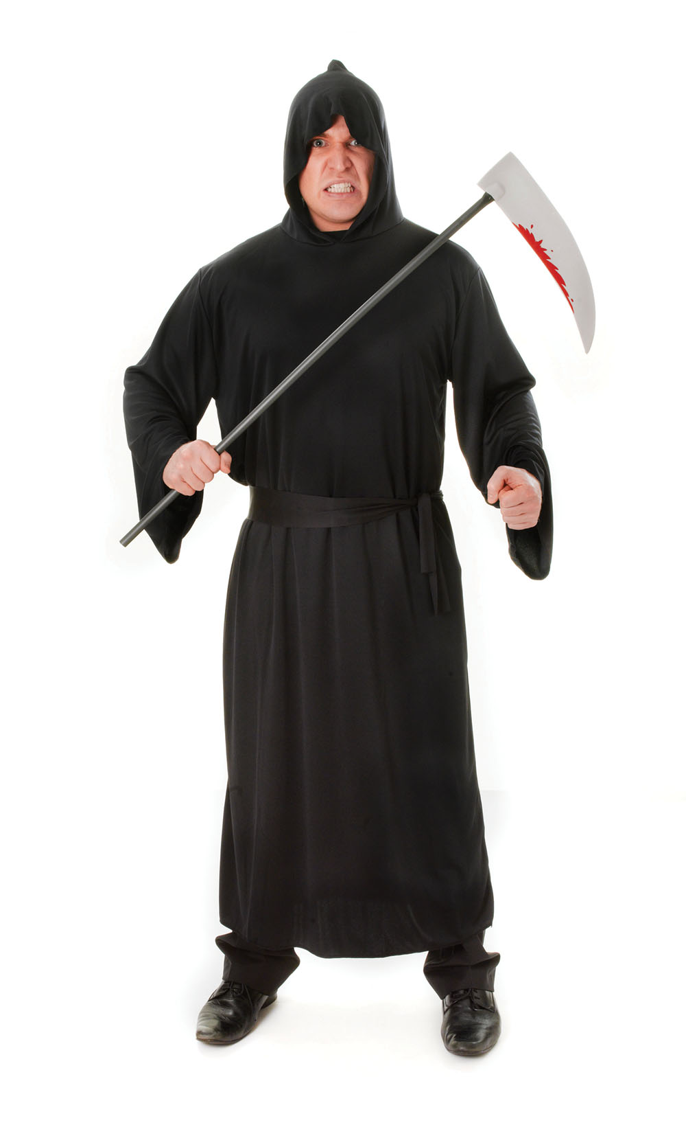 Mens Black Horror Robe Halloween Fancy Dress Costume Scary Grim Reaper Outfit