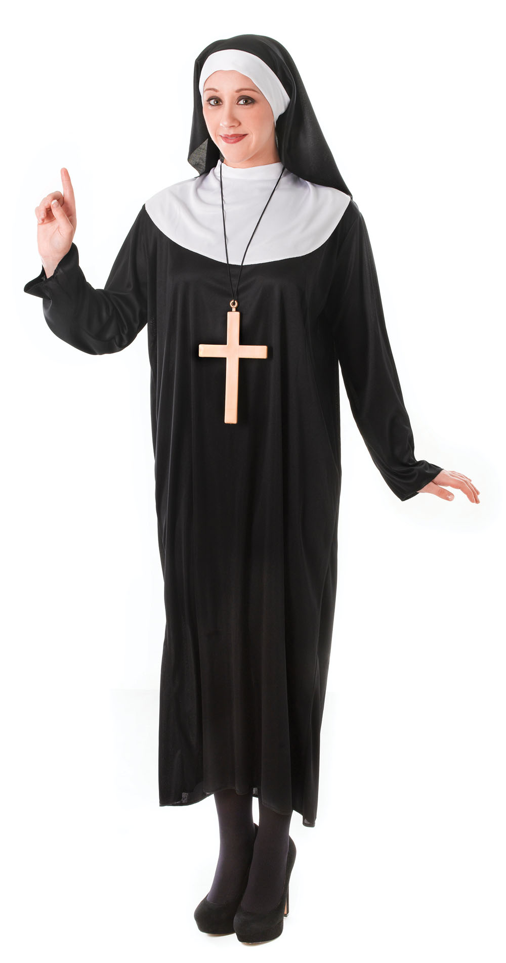 Ladies Black & White Nuns Fancy Dress Costume Hen Party WomensOutfit UK 10-14